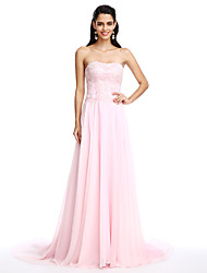 TS Couture Formal Evening Dress - Elegant A-line Strapless Court Train Chiffon with Appliques Beading