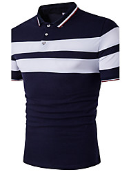 Men's Going out Casual/Daily Holiday Sexy Simple Street chic Polo,Color Block Shirt Collar Short Sleeve Cotton Polyester