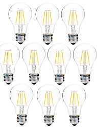 10pcs BRELONG Dimming A60 E27 4W 4LED 300LM Antique Filament Lamp Warm White / White AC22OV Transparent Bulb Light