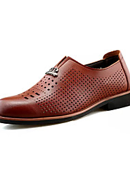 Men's Oxfords Hole Shoes PU Summer Outdoor Hole Shoes Flat Heel Black Brown Under 1in