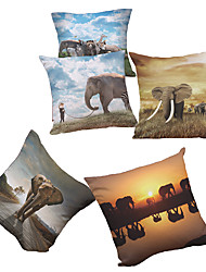 Set of 5 Elephant Pattern  Decorative Chenille Square Throw Pillow Cases Sofa Cushion Covers (18*18inch)
