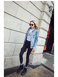 Feminino Jaqueta jeans Para Noite Vintage Primavera,Sólido Padrão Others Colarinho Chinês