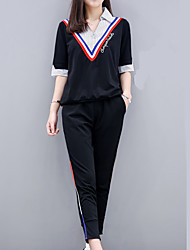 Для женщин Спорт Лето Как у футболки Брюки Костюмы Воротник-стойка,Изысканный и современный другое С короткими рукавами
