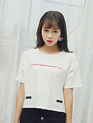 Damen Buchstabe Niedlich Ausgehen T-shirt,Rundhalsausschnitt Sommer Kurzarm Baumwolle