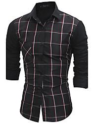 Для мужчин Вечеринка / ужин Офис / Карьера Повседневные Все сезоны Рубашка Классический воротник,Уличный стиль Сетка / Plaid Длинный рукав