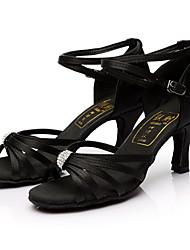 Customizable Women's Latin Satin Sandals Indoor Rhinestones Customized Heel Black