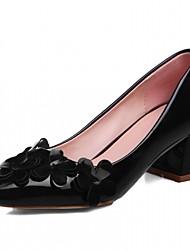 Femme Chaussures à Talons Similicuir Printemps Automne Fleur Gros Talon Noir Beige Rouge 2,5 à 4,5 cm