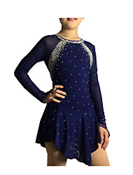 Ice Skating Dress Women's Girls' Long Sleeves Skating Skirt Dress High Elasticity Figure Skating Dress Handmade Rhinestone Spandex