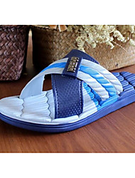 Men's Sandals Comfort Pigskin Spring Casual Comfort Khaki Blue Flat