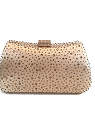 Ladies Fashion Gold Evening Purse Clutch with Rhinestone