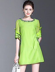 YHSPWomen's Going out Beach Holiday Simple Cute Sophisticated A Line Loose DressSolid Round Neck Above Knee  Length Sleeve Polyester Chiffon