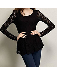 Women's Going out Casual/Daily Simple Spring Fall Shirt,Solid Round Neck Long Sleeve Knitwear Lace Medium