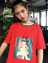 Damen Solide Muster Einfach Normal T-shirt,Rundhalsausschnitt Halbe Ärmel Baumwolle