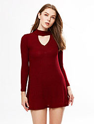 Women's Casual/Daily Formal Work Sexy Cute Sheath Dress,Solid V Neck Above Knee Long Sleeve Cotton Fall Winter Mid Rise Micro-elastic