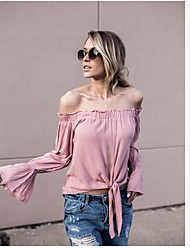 Women's Formal Sexy Blouse,Solid Off Shoulder Long Sleeve Cotton