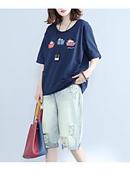 Damen Druck Einfach T-shirt,Rundhalsausschnitt Sommer Kurzarm Baumwolle Mittel
