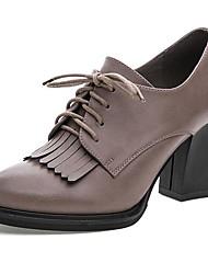 Feminino Saltos Sapatos formais Couro Primavera Outono Sapatos formais Salto Grosso Cinzento 12 cm ou mais