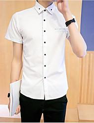 Masculino Camisa Social Casual Simples Verão,Sólido Algodão Colarinho de Camisa Manga Curta Média