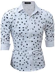 Masculino Camisa Social Casual Festa/Coquetel Férias Sensual Simples FofoEstampado Algodão Poliéster Colarinho de Camisa Manga Longa