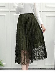 Feminino Simples Moda de Rua Casual Midi Saias,Balanço Poás Primavera Outono