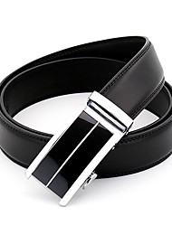 Men's Simple Striped Black Genuine Leather Alloy Automatic Buckle Waist Belt Work/Casual/Party All Seasons