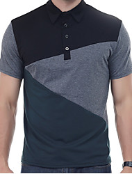 Men's Daily Casual Vintage Simple Active Polo,Solid Patchwork Shirt Collar Short Sleeve Cotton