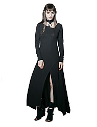 PUNK RAVE PQ-192 Women Event Party Vacation Casual Daily Simple Street chic Punk Gothic  T Shirt Asymmetrical Long Dress