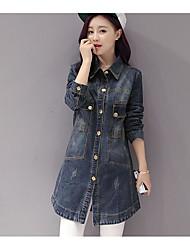 Women's Daily Casual Spring/Fall Denim Jacket,Solid Shirt Collar Long Sleeve Long Denim