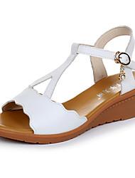 Feminino Sandálias Conforto Sintético Verão Casual Conforto Anabela Branco Preto Vermelho Verde 5 a 7 cm