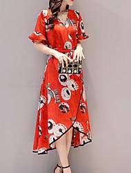 Gaine Robe Femme Sortie Décontracté / Quotidien Vintage Chinoiserie Sophistiqué,Imprimé Col en V Asymétrique Manches Courtes Autres