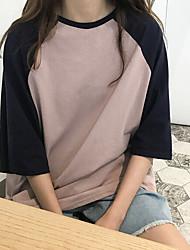 Damen Einfarbig Einfach Normal Lässig/Alltäglich T-shirt,Rundhalsausschnitt 3/4 Ärmel Baumwolle