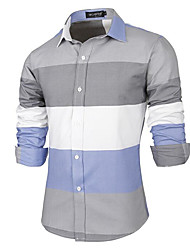 Men's Casual/Daily Chinoiserie Shirt,Color Block Classic Collar Long Sleeve Cotton
