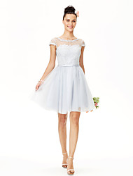 2017 Knee-length Jewel Bridesmaid Dress - Short Lace-up Short Sleeve Lace Tulle