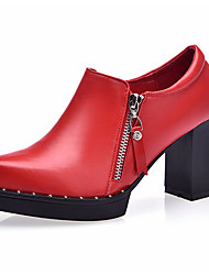 Feminino Saltos Sapatos formais Courino Primavera Outono Sapatos formais Salto Grosso Preto Vermelho 12 cm ou mais