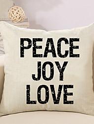 1 Pcs Peace Joy Love Quotes & Sayings Printing Pillow Cover Creative Sofa Cushion Cover Cotton/Linen Pillow Case 45*45Cm