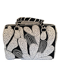 Women Suede with Beads Formal Outdoor Tote with India Hand Work Black-White
