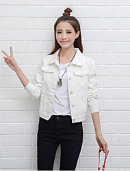 Women's Office/Career Casual/Daily Simple Spring Denim Jacket,Solid Shirt Collar Long Sleeve Short Others