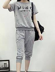 Damen Shirt Rock Anzüge,Rundhalsausschnitt Frühling Halbärmel