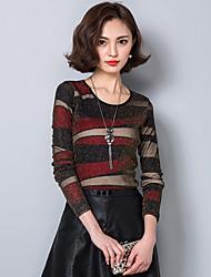 Damen Einfarbig Einfach Lässig/Alltäglich T-shirt,Rundhalsausschnitt Langarm Baumwolle Polyester