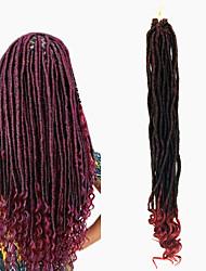 Soft dreadlocs crochet braids with curly end kanekalon fauxlocs hair extension synthetic braiding hair ombre brown 1pc