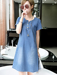 Women's Casual/Daily Active Denim Dress,Solid Round Neck Above Knee Short Sleeves Polyester Summer Mid Rise Inelastic Thin