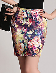Women's Casual/Daily Above Knee Skirts,Sexy Bodycon Floral Floral Print Summer