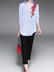 Women's Daily Simple Shirt,Striped Embroidery Shirt Collar Long Sleeve Polyester
