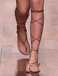 Damen Sandalen Komfort Leuchtende Sohlen Echtes Leder PU Sommer Normal Komfort Leuchtende Sohlen Schwarz Braun Flach