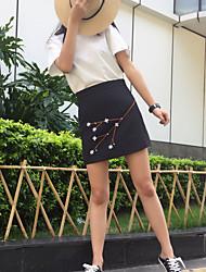 Femme Décontracté / Quotidien Au dessus des genoux Jupes,Trapèze Couleur Pleine Eté
