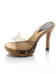 Women's Slippers & Flip-Flops Comfort PU Summer Casual Walking Comfort Flower Stiletto Heel White Black 3in-3 3/4in