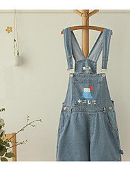 Women's Low Rise Micro-elastic Overalls Pants,Simple Slim Solid