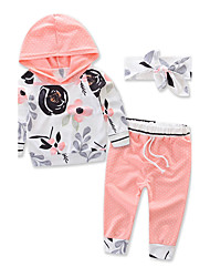Girls Boy Fashion Sports Floral Clothes Sets Cotton Fall Fall/Autumn Long Pant Baby Kids Headband Clothing Set 3 PCS