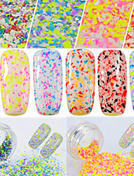 0.2g/bottle Round Bottle Fashion Colorful Candy Colors Sweet Style Nail Art Irregular Snowflake Beautiful Flakes DIY Beauty Charm Decoration XH01-12