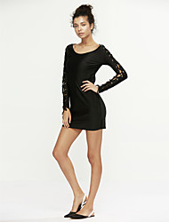 Women's Lace Up Summer Fashion Sexy High Waist Long Sleeve Dress